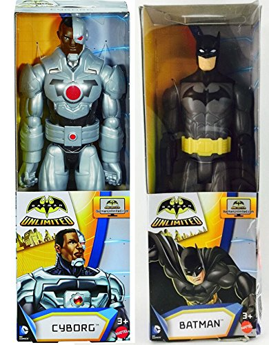 Batman DC Universe Series 12 inch Action Figure - Batman Black Gray Suit / Batman Unlimited Series-Cyborg 12 inch Action Figure - Double 2-Pack (Iron Man Batman Suit)