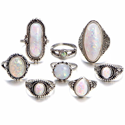 Fheaven 8PC Boho Jewelry Silver Natural Gemstone Marquise Moonstone Beads Personalized Ring Girs Women Gift (8PC)