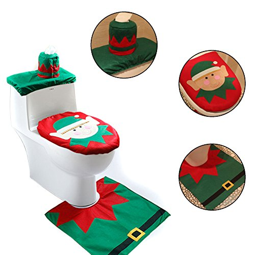 IDS Home Christmas Elf Santa Toilet Seat Cover and Rug Set Floor Mat Tissue Box Bathroom Decoration ()