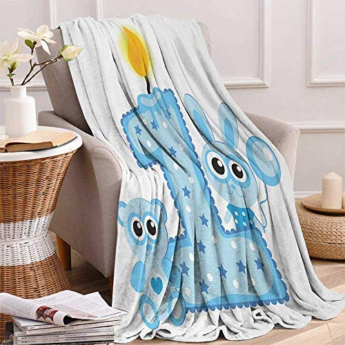 - 1st Birthday Warm Microfiber All Season Blanket Boys Party Theme with a Cake and Candle Rabbit and Bear Animals Print Artwork Image 60x50 Inch Baby Blue and Pale Blue