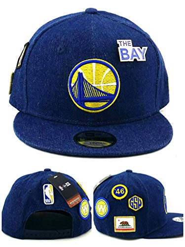 - New Era Golden State Warriors NBA Youth Kids Boys 9Fifty Draft Alternate Blue Gold Denim Jr Snapback Hat Cap