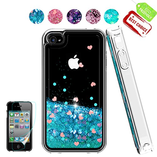 iPhone 4 Case,Apple iPhone 4 4S Case, Atump Glitter Flowing Liquid Floating Protective Shockproof Clear TPU Girls Cover Case for Apple iPhone 4/4S Blue (Iphone 4s Case Girls)