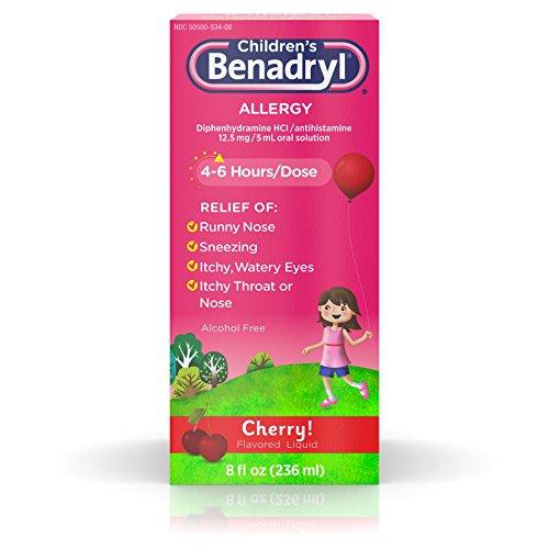 Children's Benadryl Allergy Liquid with Diphenhydramine HCl in Kid-Friendly Cherry Flavor, 8 fl. oz
