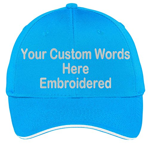 (Custom Hat, Embroidered. Your Own Text. Adjustable Back. Curved Bill (Sapphire/White Sandwich Bill))