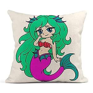 Kinhevao Cojín Azul Adorable Sirenita en Anime Colorido ...