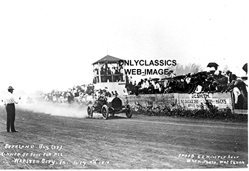 OnlyClassics 1910 OVERLAND BUG RACER EARLY AUTO RACING 8X10 PHOTO WEBSTER CITY IOWA AMERICANA INDY