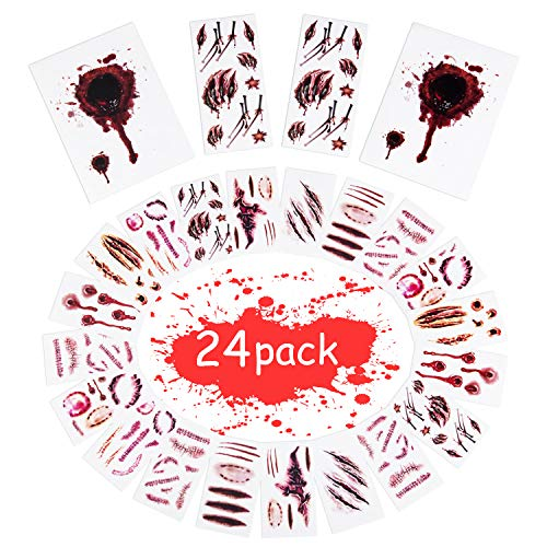 Halloween Face Wound Makeup (Joyjoz Halloween Temporary Tattoos, Halloween Stickers with Fake Blood, Scars, Wound, Zombie Makeup for Party, Cosplay, Kids, Adults (24)