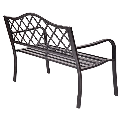 Giantex 50 Patio Garden Bench Loveseats Park Yard Furniture Decor Cast Iron Frame Black Black