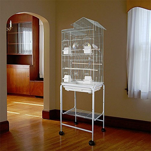 Large Tall Canary Parakeet Cockatiel LoveBird Finch Roof Top Bird Cage With Stand --18''x14''x62'' *White* by Mcage