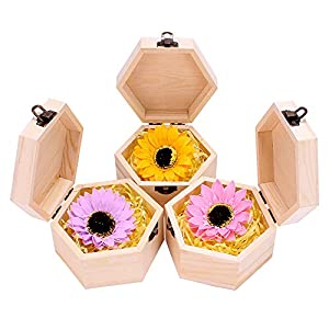 Mikolot Artificial Sunflower, Soap Flower with LED Lights in Wooden Hexagonal Box Gift for Wedding, Anniversary, Birthday 107