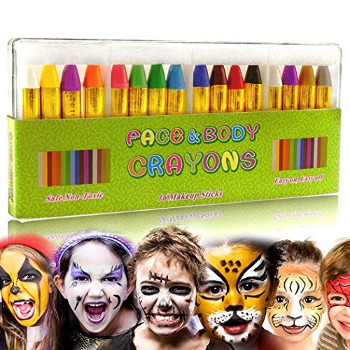 16 Colors Children's Face Color Crayons Kit Body Oil Paint Clown Fans Devil Ghost Party -