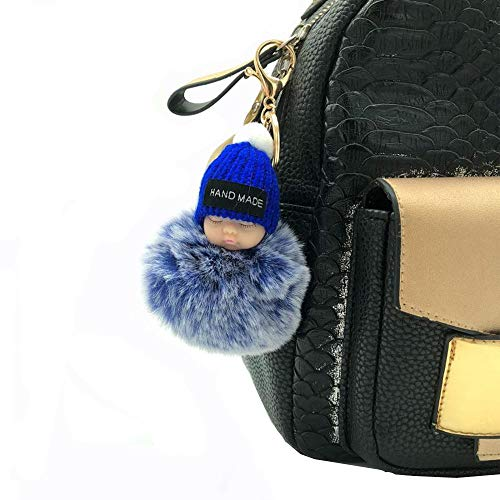 - Fashion Doll Hair Ball Keychain Korean Bag Car Plush Doll Pendant Cartoon Hanging Keychain Accessory (snow Royal blue)
