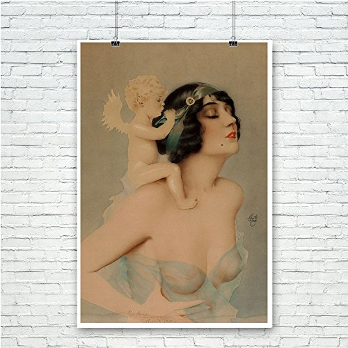 Pixy Ink Vintage Pin-Up Poster Print Ziegfeld Girl with Angel - by Alberto Vargas