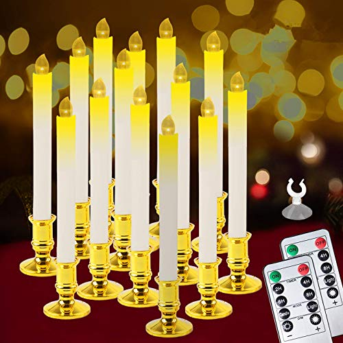Christmas Window Candles Lights,14 Pack Battery Operated Flameless Taper Candles with 2 Remote Control and Timer,Removable Golden Holder, Suction Cup for Seasonal & Festival Home Decor,Warm White,10