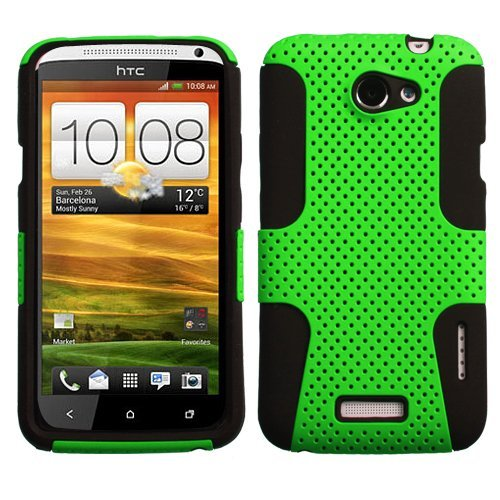 Asmyna AHTCONEXHPCAST006NP Astronoot Premium Hybrid Case with Durable Hard Plastic Faceplate for HTC One X - 1 Pack - Retail Packaging - Green/Black