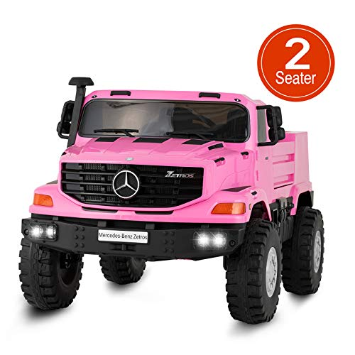 Uenjoy 2 Seater 12V Kids Ride On Car Mercedes Benz Zetros Electric Truck Motorized Vehicles w/Remote Control, Battery Powered, Storage Box, LED Lights, Suspension, Music, Horn, Pink (Best Electric Car For 3 Year Old)