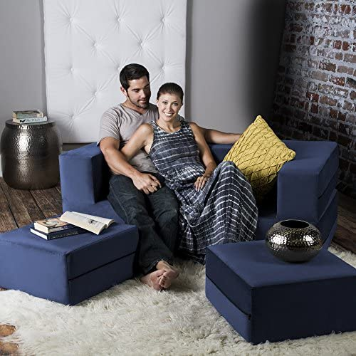 Jaxx Zipline Convertible Sleeper Loveseat Ottomans / Queen-Size Bed