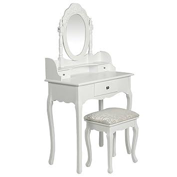 specchiera bianca con sgabello consolle mobile da toeletta per ... - Toilette Provenzale Con Specchio E Sgabello