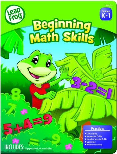 LeapFrog Beginning Math Skills Workbook for Preschool with 60 Pages and 60 Reward Stickers (19404)