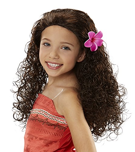 Disney Moana Wig with Plumeria Flower ()