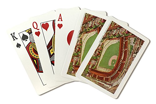 (Chicago, Illinois - Aerial View of Wrigley Field (Playing Card Deck - 52 Card Poker Size with Jokers))