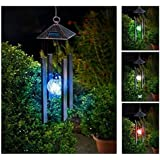 KAZOKU Solar Powered Colour Changing LED Windchime Outdoor Garden Metal Wind Chime Shopmonk