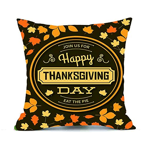 Challyhope Thanksgiving Day Festival Fall Harvest Decorative Pillow Case Sofa Waist Throw Cushion Cover Print Pillowslip (18