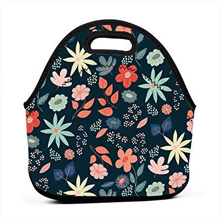 Night Garden Neoprene Lunch Bags Lunch Tote Bags for Women for Work,School Lunch Boxs for Kids Girls,Picnic Lunch Bag