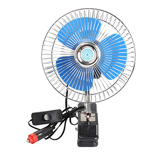 (12V Mini Electric Car Fan Cooling Low Noise Summer Car Air Conditioner Fan Portable Vehicle Truck Auto Oscillating Cooling Fan,Color)