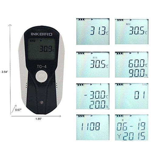 Inkbird USB Temperature Data Logger, LCD Display, 16000 Data, Thermometer w/ External Sensor