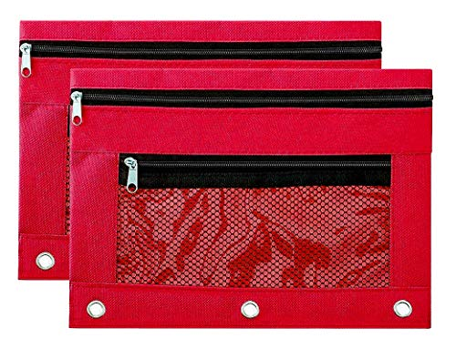 (Binder Pencil Pouch Zipper with 3 Ring and Double Pocket and Mesh Window(Red,2 Pack))