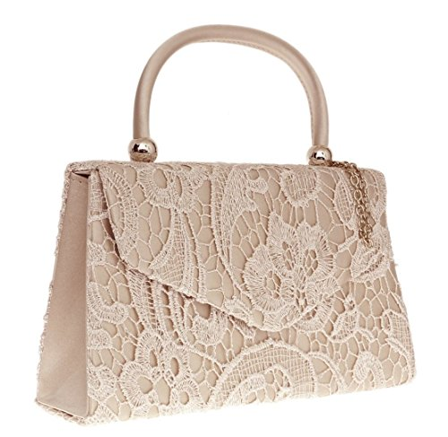 Clutch Designer Champagne Elegant Wedding Bag Evening Lace Satin Womens Out Handbag Wedding Going London Handle Clutch Vintage Bag Top Ladies Party Handbag Craze Womens Fashion q1EwaS1