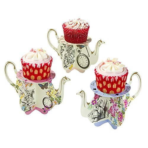 Talking Tables Truly Alice Teapot Cupcake Stands for a Tea Party, Multicolor (12 Pack) -