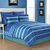 4 Piece Kids Rugby Stripes Pattern Comforter Set Queen Size, Beautiful Reversible Chevron Zig Zag Striped Luxurious Soft Design Bedding, Modern Stylish Bedrooms, Vivid Colors Turquoise Blue, Unisex