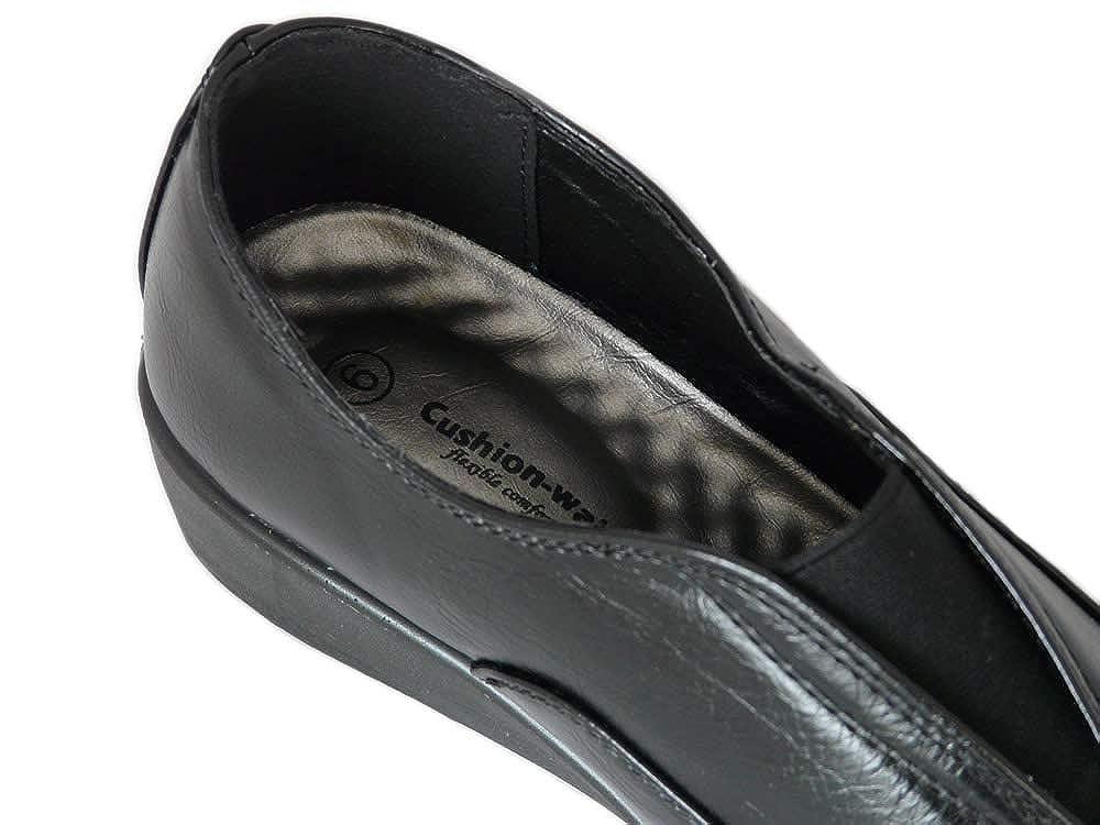 Cushion Walk Mocassins Femme Noirs Confort /à Petit Talon compens/é en Imitation Cuir avec Semelle Int/érieure Coussin/ée