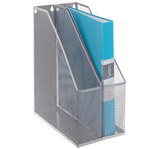 MyGift Silver Wire Mesh Wall Mountable Document Rack, Magazine and File Holder, Set of 2 ()