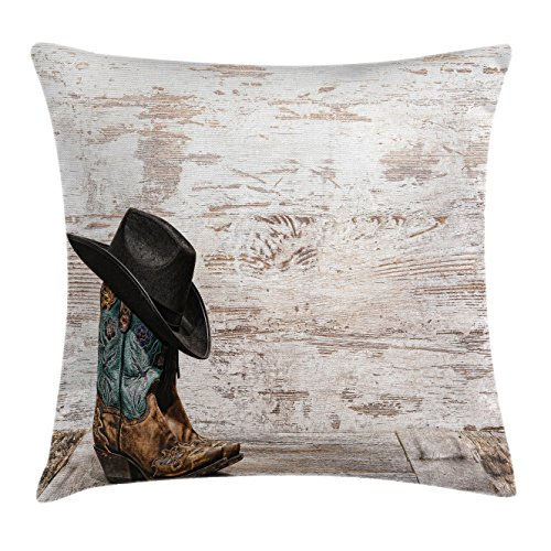 Western Throw Pillow Cushion Cover by Ambesonne, Traditional Rodeo Cowboy Hat and Cowgirl Boots Retro Grunge Background Art Photo, Decorative Square Accent Pillow Case, 18 X18 Inches, Brown Black