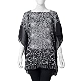 Black and White Lace Flower Pattern 100% Polyester Summer Swimsuit Cover-ups Poncho 27.56x39.37