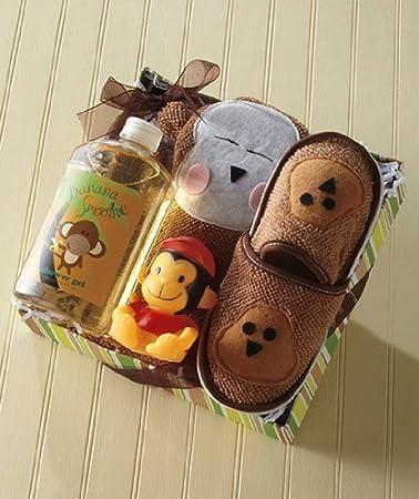 Amazon.com : Kids\' Monkey Bath Slipper Set : Baby Bathing Gift Sets ...