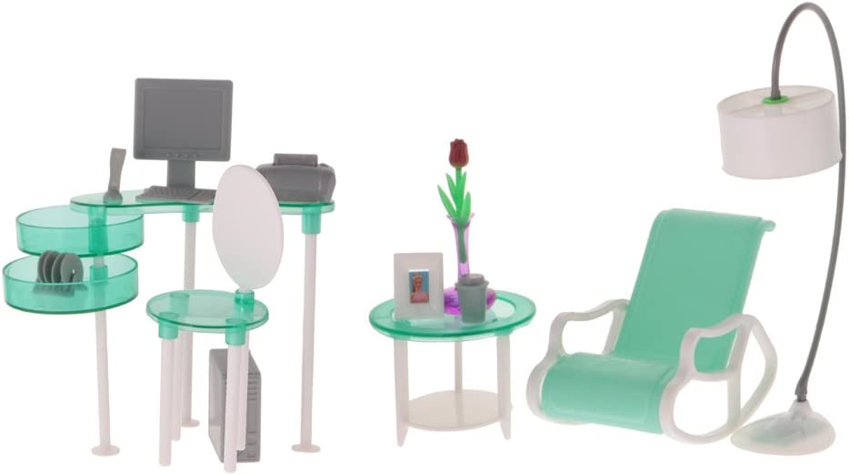 MagiDeal Dollhouse Furniture Model - 1:6 Computer & Desk Chair & End Table & Deck Chair & Floor Lamp Set, for Hot Toys Action Figures,for 1/6 BJD Doll