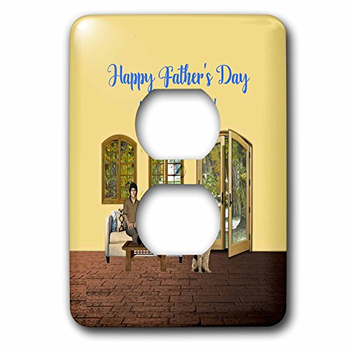 3dRose Beverly Turner Fathers Day Design - Fathers Day from Wife, Man on Couch with Cat, Dog on Floor by Door - Light Switch Covers - 2 plug outlet cover (lsp_280585_6) by 3dRose