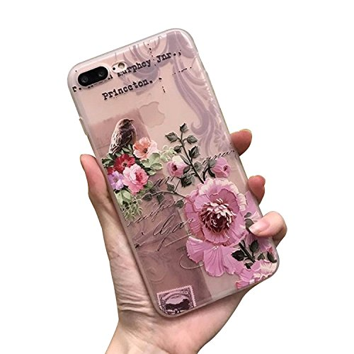 Funda para iPhone 7 Plus / 8 Plus, Vandot Mate de Lujo Caja Teléfono Móvil Carcasa Protectora Delgado Caso de TPU Silicona Alivio en 3D Funda Protective Case Cover para movil iPhone 7 Plus / 8 Plus 5. Bird Flor