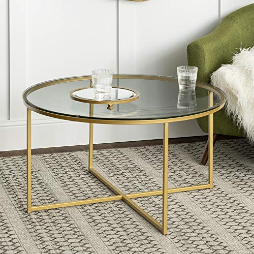 WE Furniture 36' Short Coffee Table For Living Room with X Base Simplistic Glass Top Gold Base