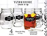 Circleware Yorkshire Mason Jar Mugs with Fun Chalkboard and Glass Handles, Chalk Included, Set of 4, 17.5 Ounce Each, Limited Edition Glassware Serveware Drinkware Drinking Glasses/cups
