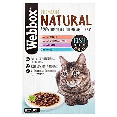 Selección de pescado natural en gelatina para gatos, 12 x 100 g ...
