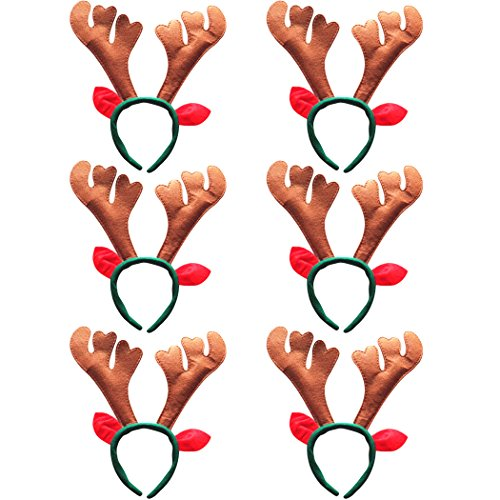 Reindeer Headband Outgeek 6pcs Reindeer Antlers Headband Deer Party Hats for Easter Halloween Christmas Kid's Party]()