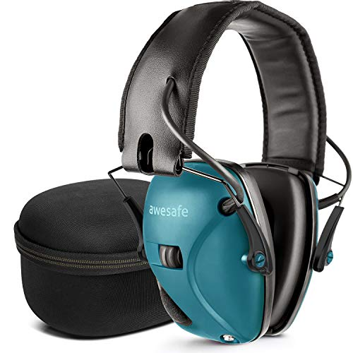 (awesafe Electronic Shooting Earmuff, Noise Reduction Sound Amplification Electronic Safety Ear Muffs and Storage Case, Blue …)