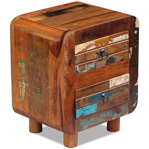 2 Drawer Teak Nightstand - vidaXL Solid Reclaimed Wood 2-Drawer Night Storage Cabinet Nightstand Side Table