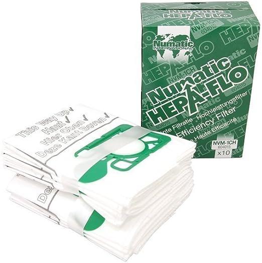 Bolsas con filtro HEPA para aspiradoras paquete de 10 unidades Numatic NVM-1CH