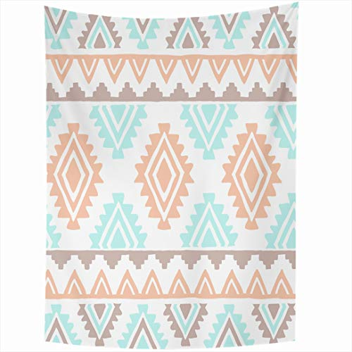 Ahawoso Tapestry 60 x 90 Inches Kids Blue Pattern Southwest Inspired Abstract Mint Aztec Navajo Geometric Peach Wall Hanging Home Decor Tapestries for Living Room Bedroom Dorm